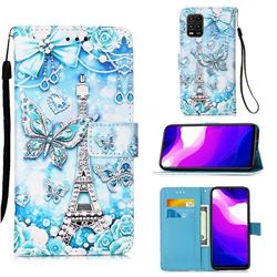 Tower Butterfly Matte Leather Wallet Phone Case for Xiaomi Mi 10 Lite