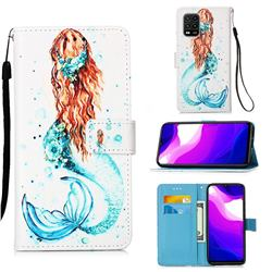 Mermaid Matte Leather Wallet Phone Case for Xiaomi Mi 10 Lite