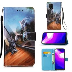 Mirror Cat Matte Leather Wallet Phone Case for Xiaomi Mi 10 Lite