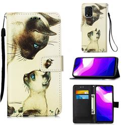 Cat Confrontation Matte Leather Wallet Phone Case for Xiaomi Mi 10 Lite