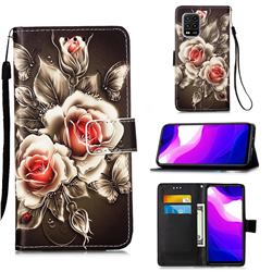 Black Rose Matte Leather Wallet Phone Case for Xiaomi Mi 10 Lite