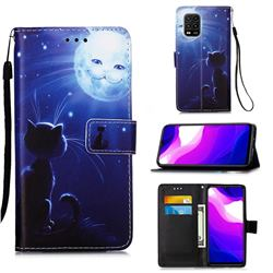 Cat and Moon Matte Leather Wallet Phone Case for Xiaomi Mi 10 Lite