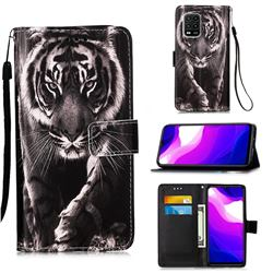 Black and White Tiger Matte Leather Wallet Phone Case for Xiaomi Mi 10 Lite