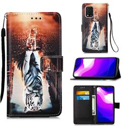 Cat and Tiger Matte Leather Wallet Phone Case for Xiaomi Mi 10 Lite