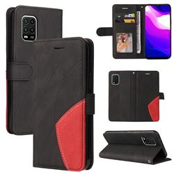 Luxury Two-color Stitching Leather Wallet Case Cover for Xiaomi Mi 10 Lite - Black