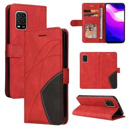 Luxury Two-color Stitching Leather Wallet Case Cover for Xiaomi Mi 10 Lite - Red