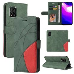 Luxury Two-color Stitching Leather Wallet Case Cover for Xiaomi Mi 10 Lite - Green