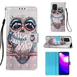 Sweet Gray Owl 3D Painted Leather Wallet Case for Xiaomi Mi 10 Lite