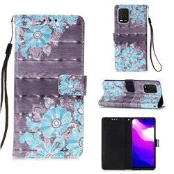 Blue Flower 3D Painted Leather Wallet Case for Xiaomi Mi 10 Lite