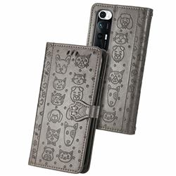 Embossing Dog Paw Kitten and Puppy Leather Wallet Case for Xiaomi Mi 10S - Gray