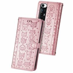 Embossing Dog Paw Kitten and Puppy Leather Wallet Case for Xiaomi Mi 10S - Rose Gold