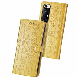 Embossing Dog Paw Kitten and Puppy Leather Wallet Case for Xiaomi Mi 10S - Yellow