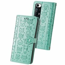 Embossing Dog Paw Kitten and Puppy Leather Wallet Case for Xiaomi Mi 10S - Green