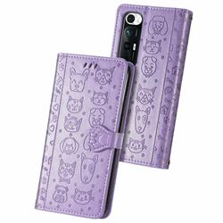 Embossing Dog Paw Kitten and Puppy Leather Wallet Case for Xiaomi Mi 10S - Purple