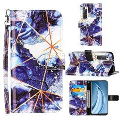 Starry Blue Stitching Color Marble Leather Wallet Case for Xiaomi Mi 10S