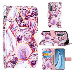 Dream Purple Stitching Color Marble Leather Wallet Case for Xiaomi Mi 10S
