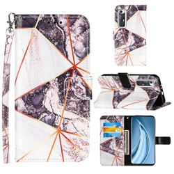 Black and White Stitching Color Marble Leather Wallet Case for Xiaomi Mi 10S