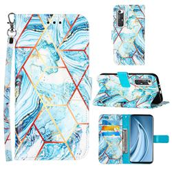 Lake Blue Stitching Color Marble Leather Wallet Case for Xiaomi Mi 10S