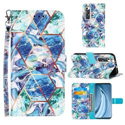 Green and Blue Stitching Color Marble Leather Wallet Case for Xiaomi Mi 10S
