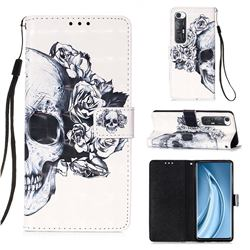 Skull Flower 3D Painted Leather Wallet Case for Xiaomi Mi 10S