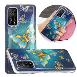 Golden Butterfly Painted Galvanized Electroplating Soft Phone Case Cover for Xiaomi Mi 10T / 10T Pro 5G