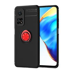 Auto Focus Invisible Ring Holder Soft Phone Case for Xiaomi Mi 10T / 10T Pro 5G - Black Red
