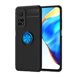 Auto Focus Invisible Ring Holder Soft Phone Case for Xiaomi Mi 10T / 10T Pro 5G - Black Blue