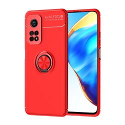 Auto Focus Invisible Ring Holder Soft Phone Case for Xiaomi Mi 10T / 10T Pro 5G - Red