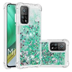 Dynamic Liquid Glitter Sand Quicksand TPU Case for Xiaomi Mi 10T / 10T Pro 5G - Green Love Heart