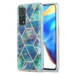 Blue Green Marble Pattern Galvanized Electroplating Protective Case Cover for Xiaomi Mi 10T / 10T Pro 5G