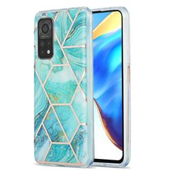 Blue Sea Marble Pattern Galvanized Electroplating Protective Case Cover for Xiaomi Mi 10T / 10T Pro 5G