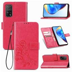 Embossing Imprint Four-Leaf Clover Leather Wallet Case for Xiaomi Mi 10T / 10T Pro 5G - Rose Red
