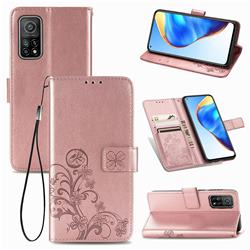 Embossing Imprint Four-Leaf Clover Leather Wallet Case for Xiaomi Mi 10T / 10T Pro 5G - Rose Gold