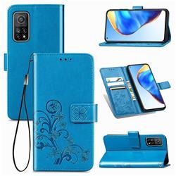 Embossing Imprint Four-Leaf Clover Leather Wallet Case for Xiaomi Mi 10T / 10T Pro 5G - Blue