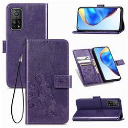 Embossing Imprint Four-Leaf Clover Leather Wallet Case for Xiaomi Mi 10T / 10T Pro 5G - Purple