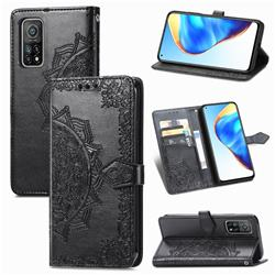 Embossing Imprint Mandala Flower Leather Wallet Case for Xiaomi Mi 10T / 10T Pro 5G - Black