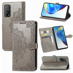 Embossing Imprint Mandala Flower Leather Wallet Case for Xiaomi Mi 10T / 10T Pro 5G - Gray