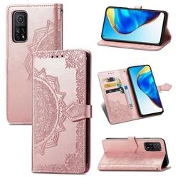 Embossing Imprint Mandala Flower Leather Wallet Case for Xiaomi Mi 10T / 10T Pro 5G - Rose Gold