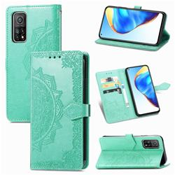 Embossing Imprint Mandala Flower Leather Wallet Case for Xiaomi Mi 10T / 10T Pro 5G - Green