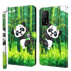 Climbing Bamboo Panda 3D Painted Leather Wallet Case for Xiaomi Mi 10T / 10T Pro 5G