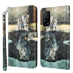 Tiger and Cat 3D Painted Leather Wallet Case for Xiaomi Mi 10T / 10T Pro 5G
