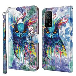 Watercolor Owl 3D Painted Leather Wallet Case for Xiaomi Mi 10T / 10T Pro 5G