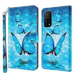 Blue Sea Butterflies 3D Painted Leather Wallet Case for Xiaomi Mi 10T / 10T Pro 5G