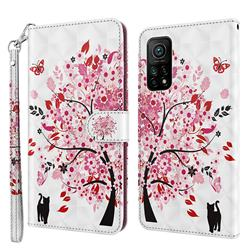 Tree and Cat 3D Painted Leather Wallet Case for Xiaomi Mi 10T / 10T Pro 5G
