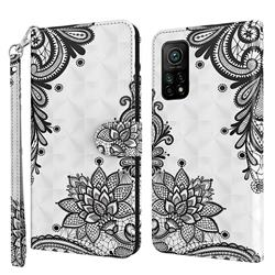 Black Lace Flower 3D Painted Leather Wallet Case for Xiaomi Mi 10T / 10T Pro 5G