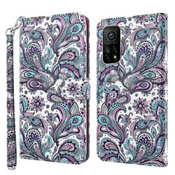 Swirl Flower 3D Painted Leather Wallet Case for Xiaomi Mi 10T / 10T Pro 5G