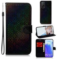 Laser Circle Shining Leather Wallet Phone Case for Xiaomi Mi 10T / 10T Pro 5G - Black