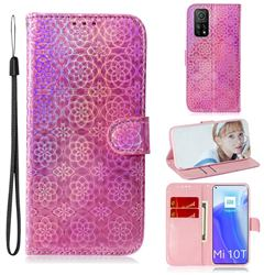 Laser Circle Shining Leather Wallet Phone Case for Xiaomi Mi 10T / 10T Pro 5G - Pink