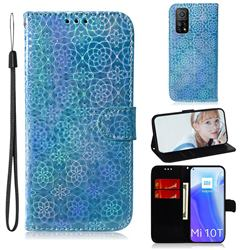 Laser Circle Shining Leather Wallet Phone Case for Xiaomi Mi 10T / 10T Pro 5G - Blue