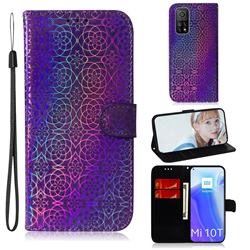 Laser Circle Shining Leather Wallet Phone Case for Xiaomi Mi 10T / 10T Pro 5G - Purple